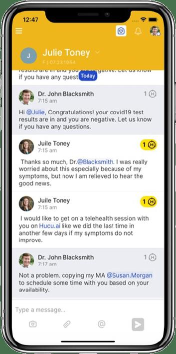 covid-testing communication app, hucu.ai